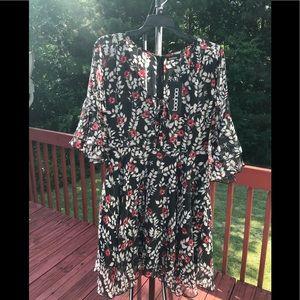 Boohoo Kat Floral Lace Up Ruffle Tea Dress Black